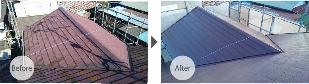 四街道市の屋根塗装工事のビフォアフター