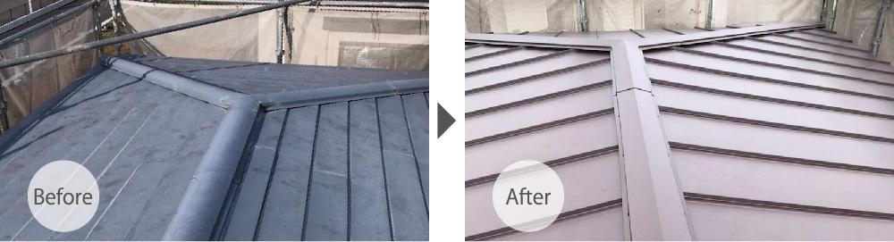 千葉市花見川区トタン屋根の葺き替え工事のビフォーアフター