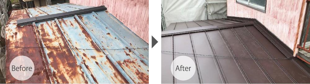 埼玉県八潮市の屋根葺き替え工事ビフォーアフター