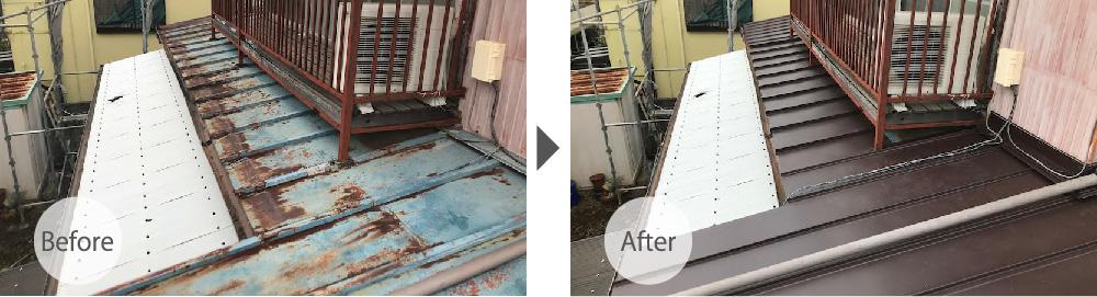 埼玉県八潮市の屋根葺き替え工ビフォーアフター