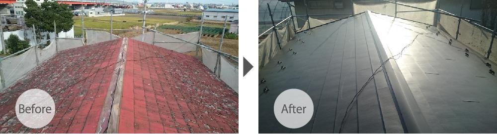 埼玉県三郷市の屋根カバー工法リフォームのビフォーアフター