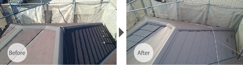 千葉県佐倉市の屋根カバー工法リフォームビフォーアフター