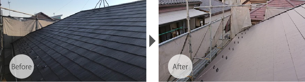 千葉県佐倉市の屋根カバー工法のビフォーアフター