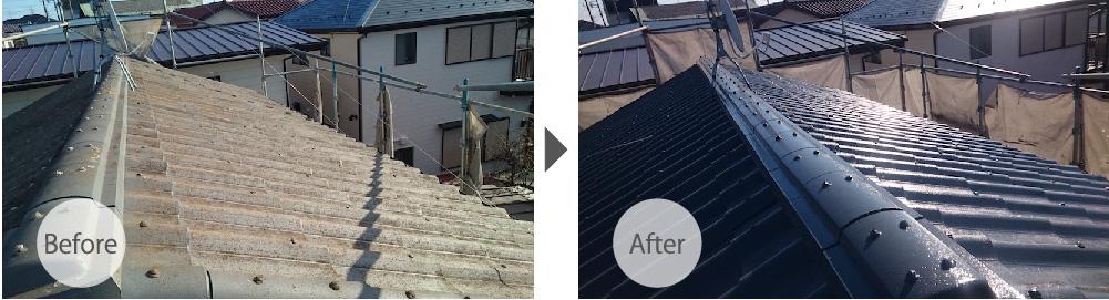 墨田区の屋根塗装工事のビフォーアフター