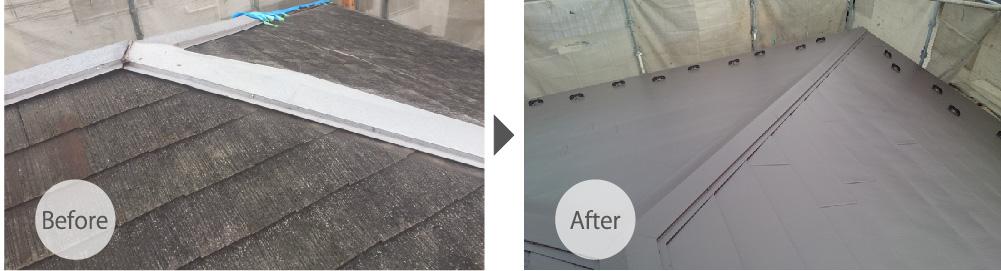 埼玉県八潮市の屋根カバー工法リフォームのビフォーアフター