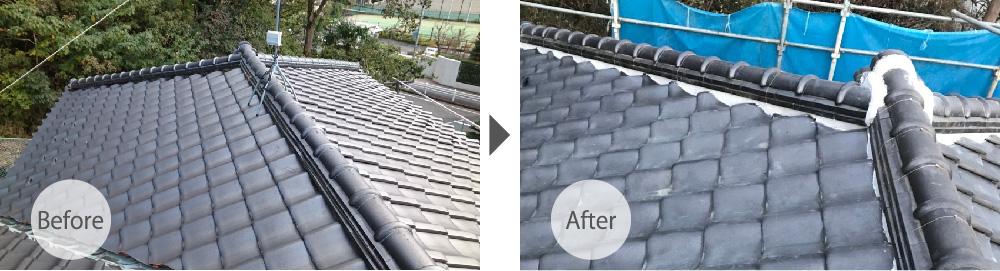 千葉県八千代市の屋根の葺き直し工事のビフォーアフター