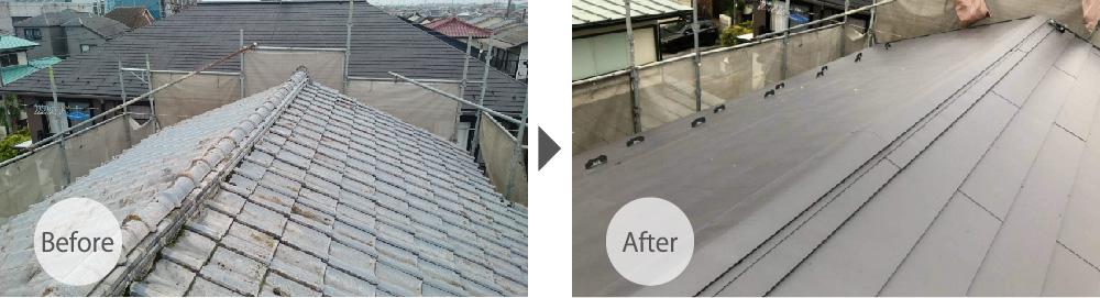 東京都荒川区の屋根葺き替え工事のビフォーアフター