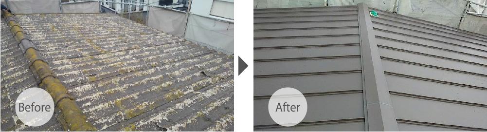 千葉市の屋根葺き替え工事ビフォーアフター