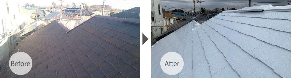 草加市の屋根塗装工事のビフォーアフター