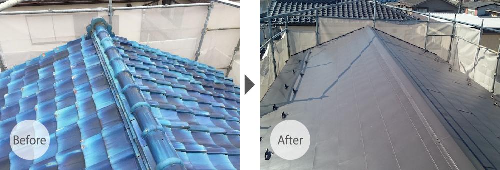 市原市の屋根葺き替え工事のビフォーアフター
