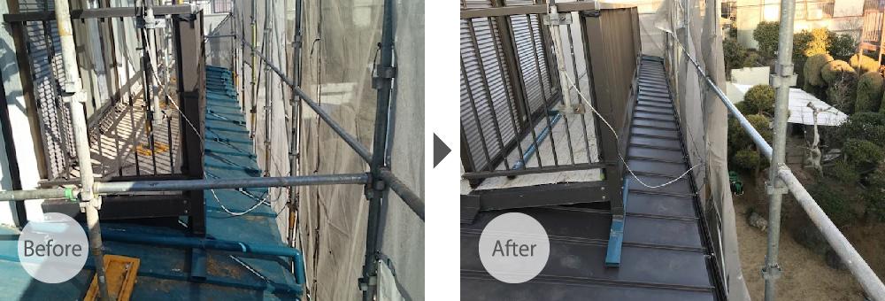 市原市の下屋根の葺き替え工事
