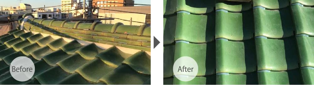 千葉市緑区の屋根修理のビフォーアフター
