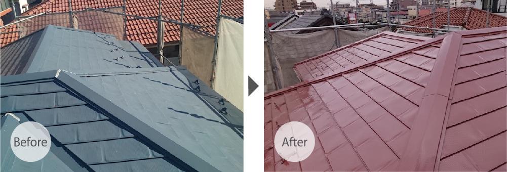 市川市の屋根塗装工事のビフォーアフター