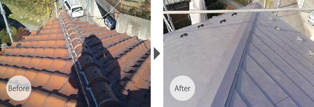 柏市の瓦屋根の葺き替え工事のビフォーアフター