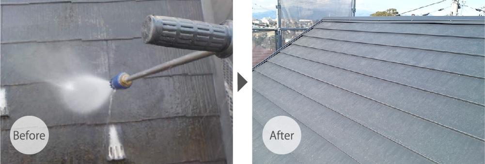 柏市の屋根カバー工法リフォームのビフォーアフター
