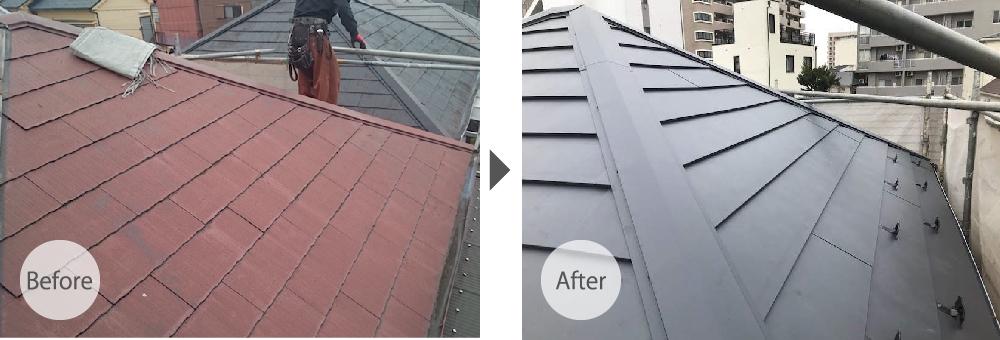 横浜市の屋根カバー工法リフォームのビフォーアフター