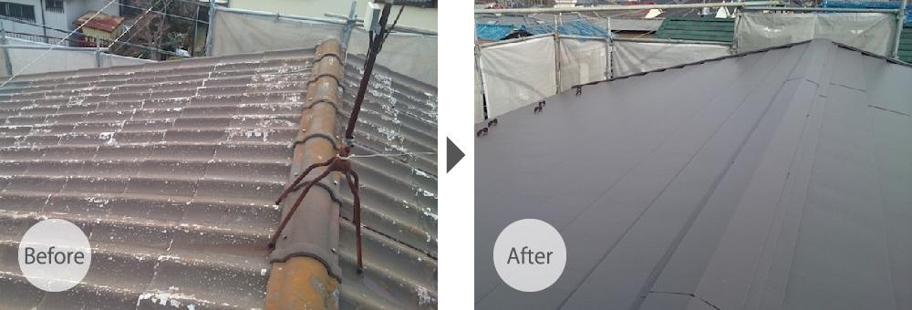 大屋根のカバー工法のビフォーアフター