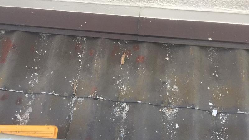 塗装の剥がれた下屋根
