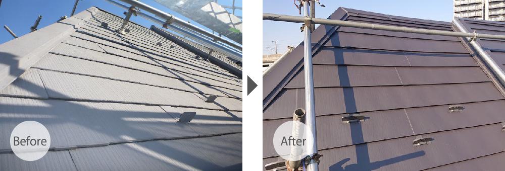 スレート瓦からガルバリウム鋼板にカバー工法で葺き替えたビフォーアフター