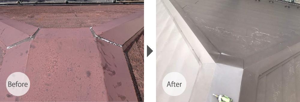 江戸川区の屋根カバー工法リフォームのビフォーアフター