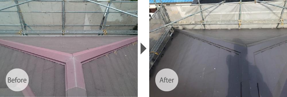 成田市の屋根カバー工法のビフォーアフター