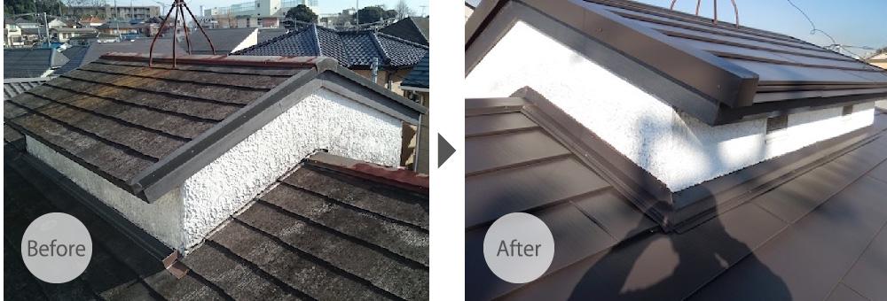 スレート屋根からガルバリウム鋼板に葺き替え