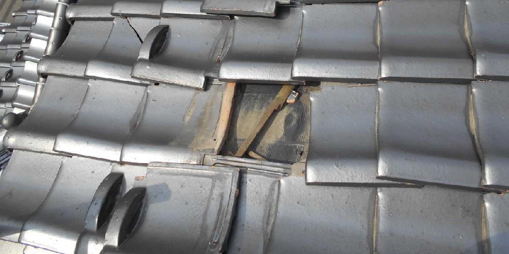 瓦屋根の欠落