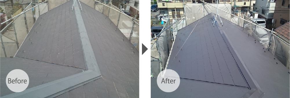 小平市の屋根塗装工事のビフォーアフター