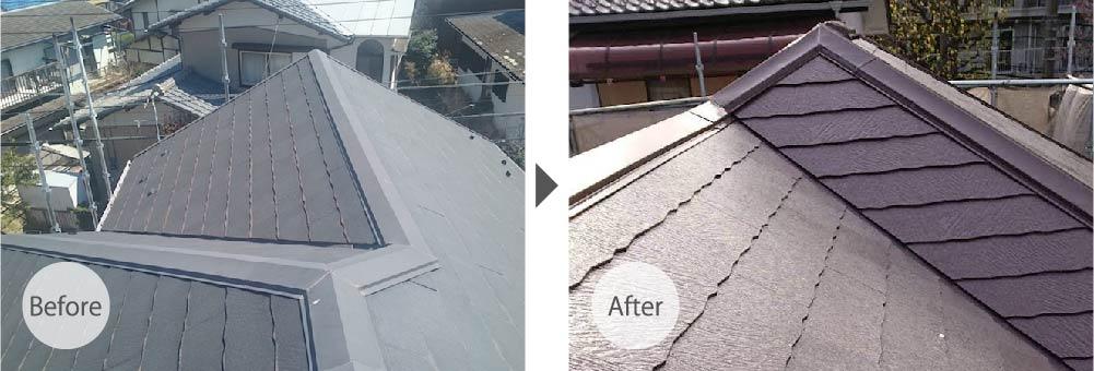 横浜市の屋根塗装のビフォーアフター