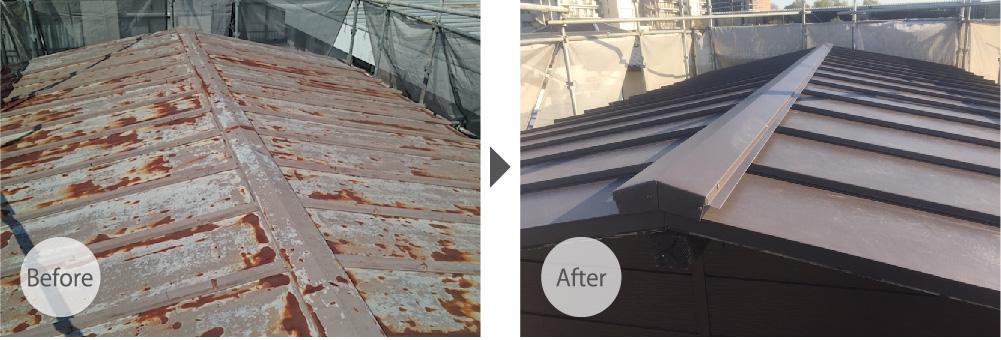 富士見市の屋根の葺き替え工事のビフォーアフター