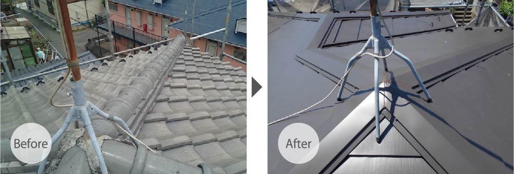 鎌倉市の屋根葺き替え工事のビフォーアフター