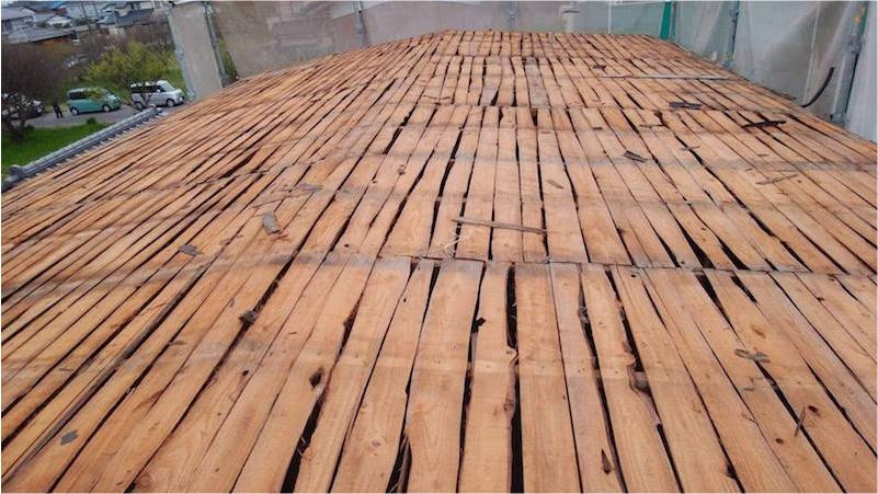 トタン屋根の屋根材の撤去後