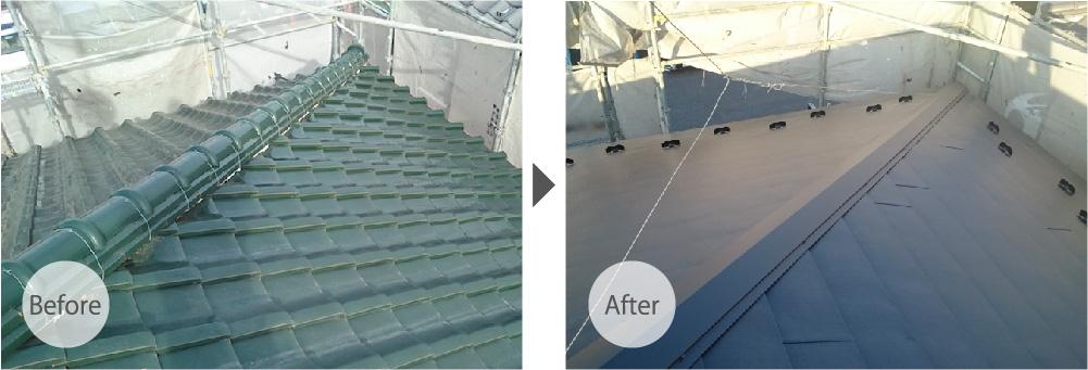 瓦屋根をガルバリウム鋼板に葺き替え