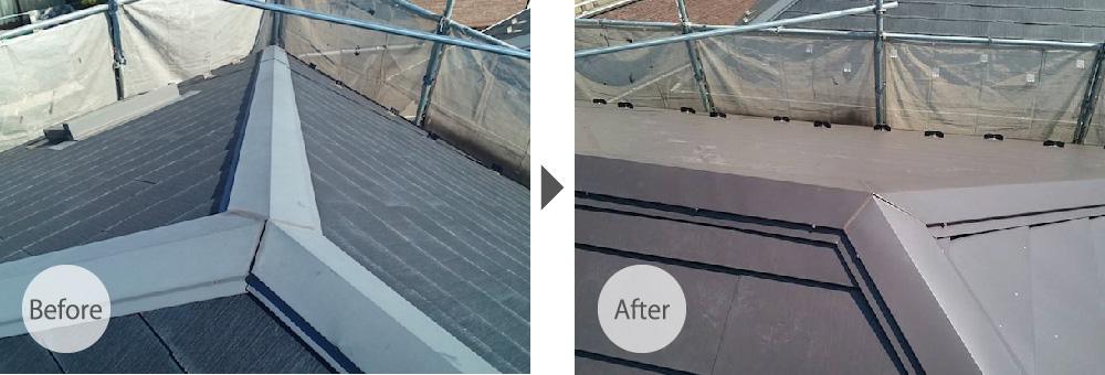 調布市の屋根カバー工法のビフォーアフター