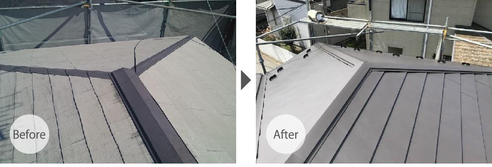 川口市の屋根カバー工法のビフォーアフター