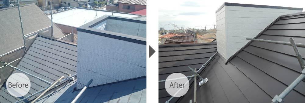 越谷市の屋根カバー工法のビフォーアフター