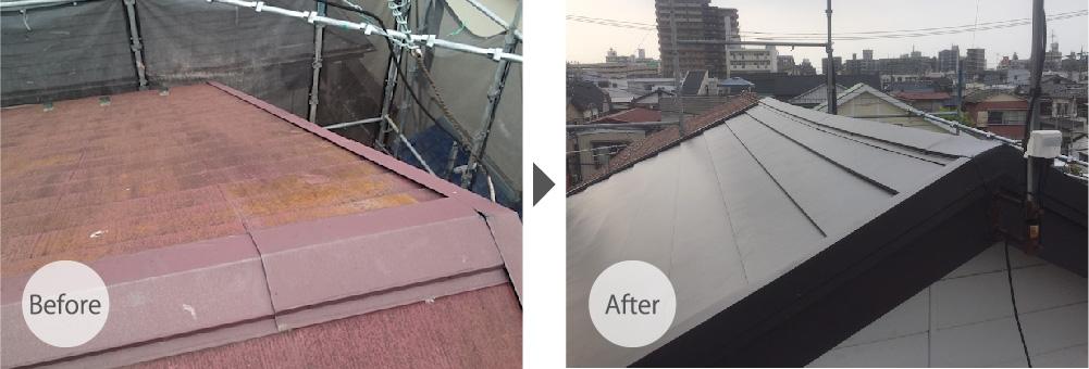 蕨市の屋根カバー工法リフォームのビフォーアフター