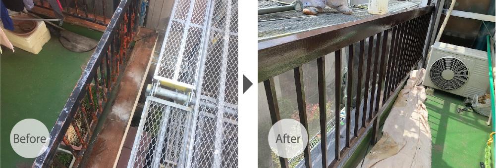 蕨市のベランダ手すりの塗装の工事のビフォーアフター
