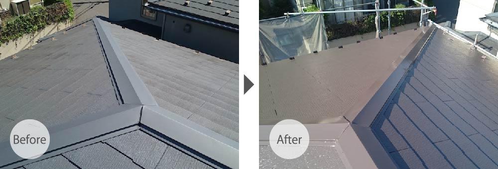 船橋市屋根塗装のビフォーアフター
