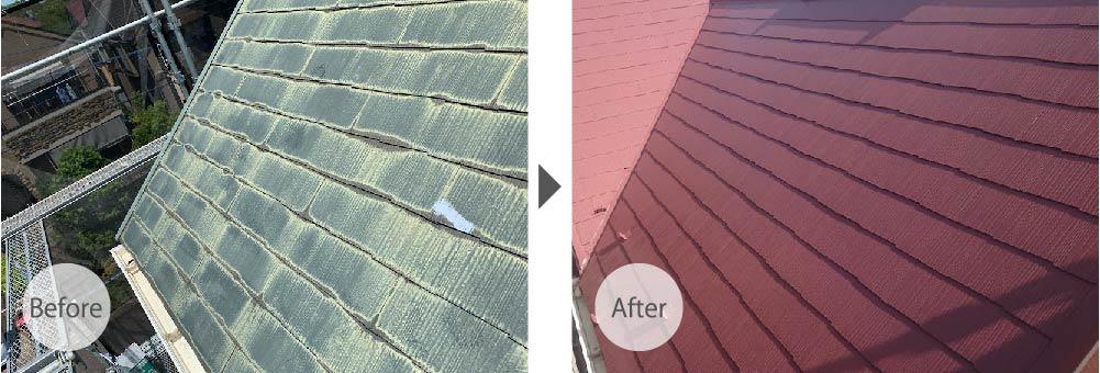 八千代市の屋根塗装工事のビフォーアフター