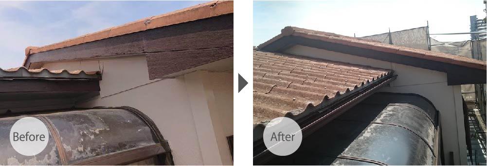 屋根付近の修理ビフォーアフター