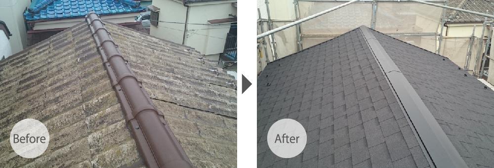 三郷市の屋根塗装工事のビフォーアフター