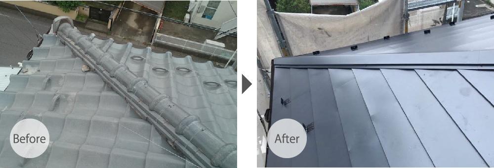 千葉県柏市の屋根カバー工法のビフォーアフター