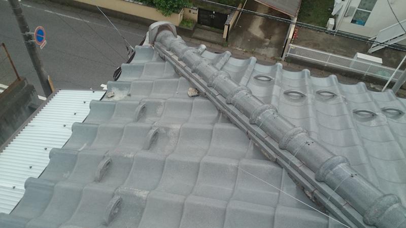 日本瓦屋根の漆喰の劣化