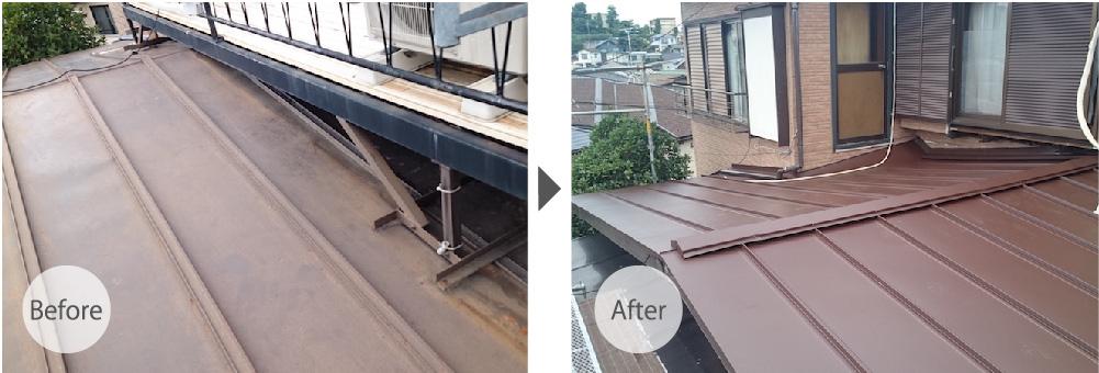 埼玉県川口市の屋根葺き替え工事のビフォーアフター