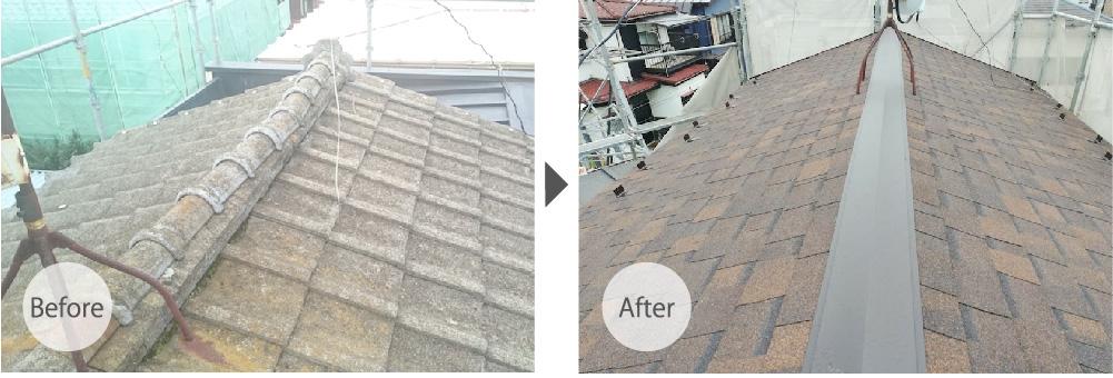 越谷市の屋根葺き替え工事のビフォーアフター