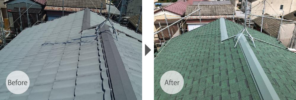埼玉県三郷市の屋根葺き替え工事のビフォーアフター