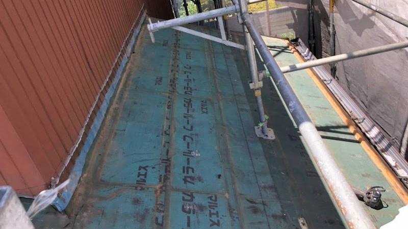 下屋根の屋根材の撤去・解体
