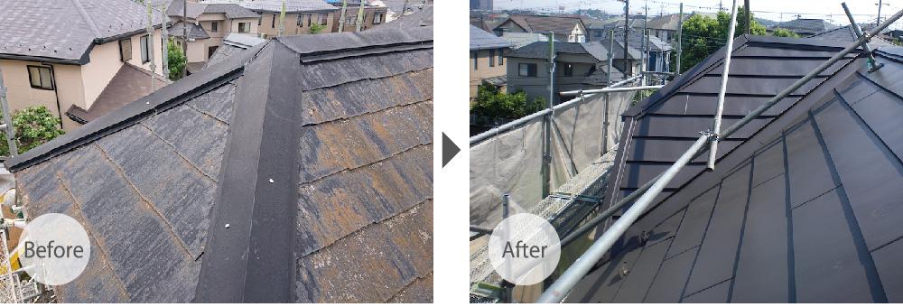 足立区の屋根カバー工法のビフォーアフター
