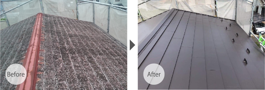 松戸市の屋根カバー工法のビフォーアフター